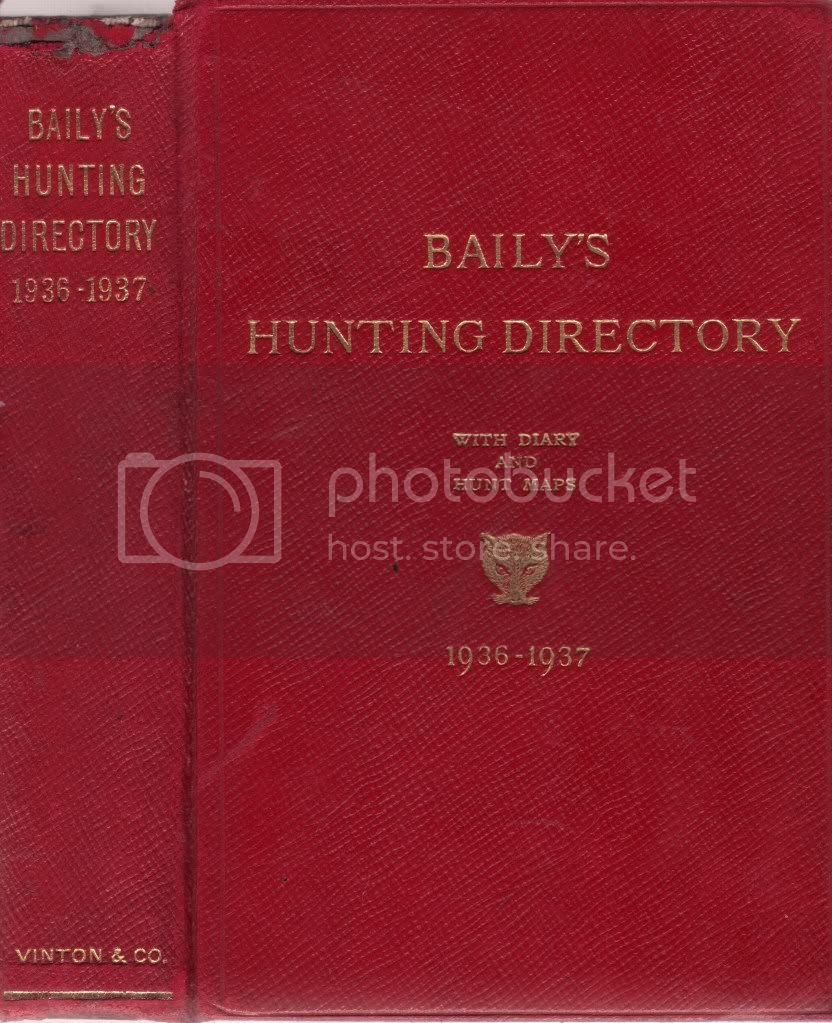BAILYS HUNTING DIRECTORY 1936-1937 Diary & Hunt Maps Point to Point Races FOX HB
